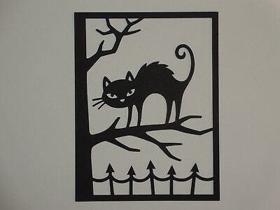 Halloween cat overlay for A2 greeting card die cut