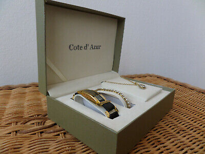 New Boxed Set - Black/Gold Watch, Diamante Bracelet & Necklace by Cote d' Azur