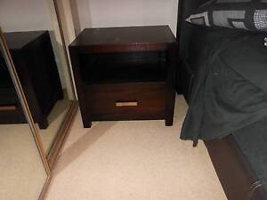 2 x Dark brown heavy wooden bedside tables with drawer Northbridge Willoughby Area Preview