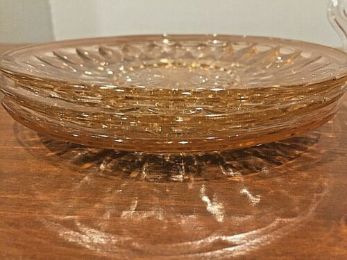 Set of 3 Pink Windsor Diamond Pattern Depression Glass Bread Plates
