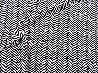 Stretch Zebra - Printed Liverpool Textured Fabric 4 way Stretch Black and White Zebra I701