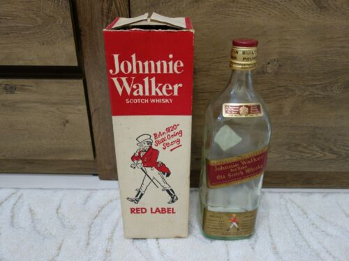 VTG OLD RARE 1960s WHISKY JOHNNIE WALKER RED LABEL 2.25 L EMPTY BOTTLE WITH BOX