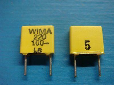 50 Wima Fkc2 2201005 220pf 100v 5 5mm Polycarbonate Film Foil Capacitor