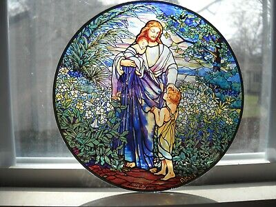 Stained Glass Style Jesus And Children Glass Plaque - Louis C. Tiffany](Jesus And Children)
