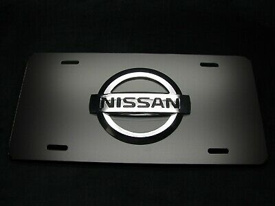 NISSAN METAL CAR LICENSE PLATE 3D RAISED NISSAN LOGO EMBLEM