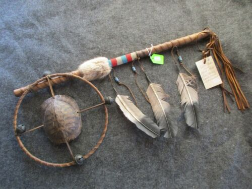 "NATIVE AMERICAN INDIAN ""TURTLE HOOP"" DANCE WAND, CEREMONIAL RATTLE,  #CO-04528"