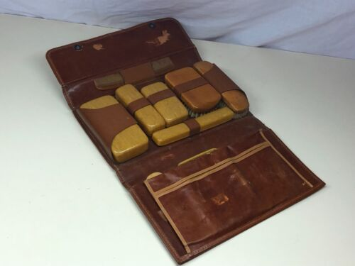 Old Vintage Bakelite Grooming Kit in Leather Travel Briefcase NO COMPLETE