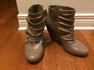 Taupe Spring Booties, Size 8.5