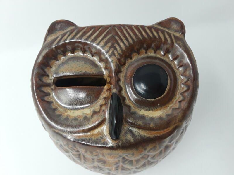 """Homart Owl Piggy Bank Ceramic Brown 5"""" Tall"""