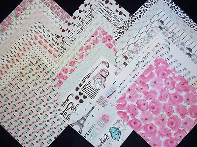 12x12 Scrapbook Paper Studio Pink Passport Girls Modeling Paris Fashion 40 Lot  - Pink Scrapbook Paper