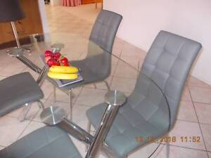 Glass and Chrome Dining table and 4 Chairs
