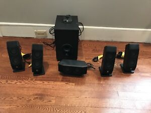 Surround sound system with subwoofer tv/pc