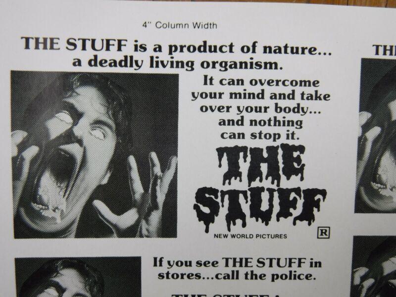 THE STUFF Movie Mini Ad Sheet Vintage Advertising Poster Film Horror