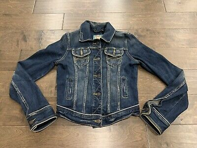 Abercrombie and Fitch Womens Dark Blue Distresses Denim Jean Jacket Size S Small