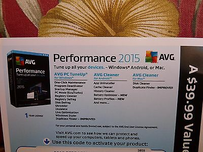 Avg Performance 2015 Unlimited Devices 1 Year   Key Card  Free Upgrade To 2016