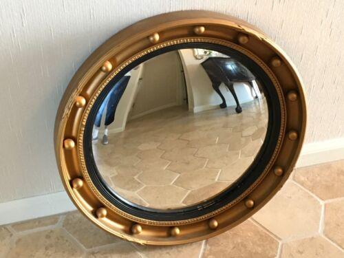 Antique English Wooden Gold Convex Hanging Mirror English Round C1900