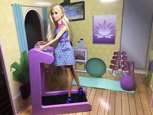 Barbie furniture, gym room , the treadmill and Yoga mat set