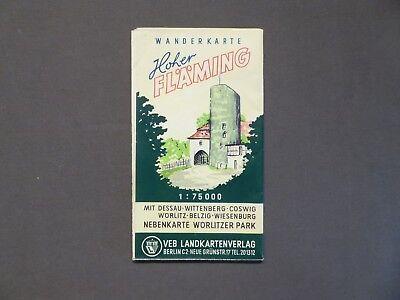 Landkarte, Hoher Fläming, Dessau, Coswig, Belzig, Wiesenburg, Wörlitz, DDR 1959