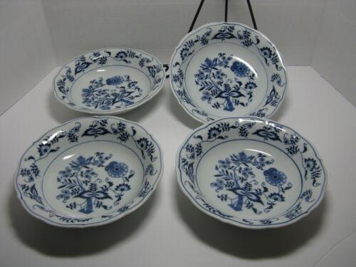 """4 Blue Danube (Japan) Blue Onion Coupe Soup Bowls 7 1/2"""" 1977 - 2000 Backstamp"""