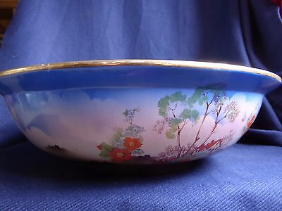 Vintage Ceramic Wash Bowl, Gilt Rim, Floral, Blue Washing Bathing, 38.5cm