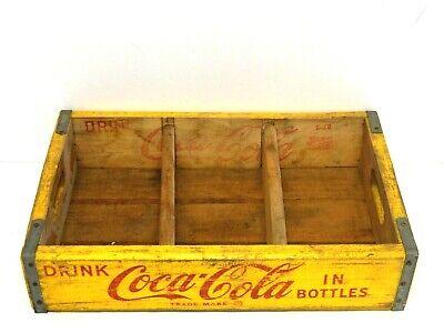 "VINTAGE COCA COLA YELLOW WOODEN BOX CRATE CASE BOTTLE CARRIER (18"" x 12"" x 4"")"