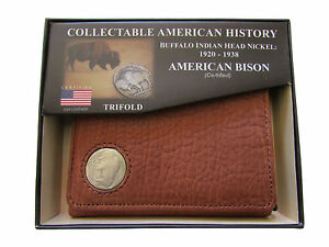 American Bison Trifold Buffalo Nickel Wallet Brown Kingport