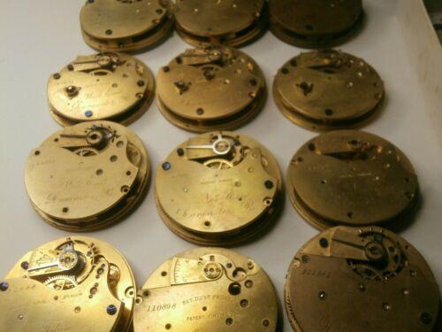 HUGE Antique LANCASTER 18s Pocket Watch Movement LOT Key Wind Estate RARE Parts