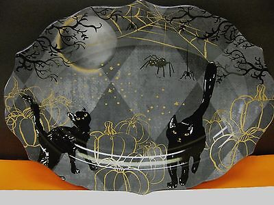 222 FIFTH HALLOWEEN BLACK SCAREDY CAT SERVING PLATTER SPIDER WEBS PORCELAIN - Halloween Platters