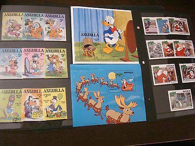 ANGUILLA 1981 Disney 2 Complete Set Scott 434-43, 453-462 Easter - Christmas MNH