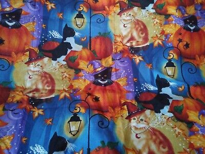 Halloween Hats For Cats (CATS w HATS & PUMPKINS on Blue HALLOWEEN 100% Cotton fabric Scrap Sew)