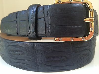 New Arrival from Italy. Genuine black CROCODILE belt with Gold Buckle unlike any