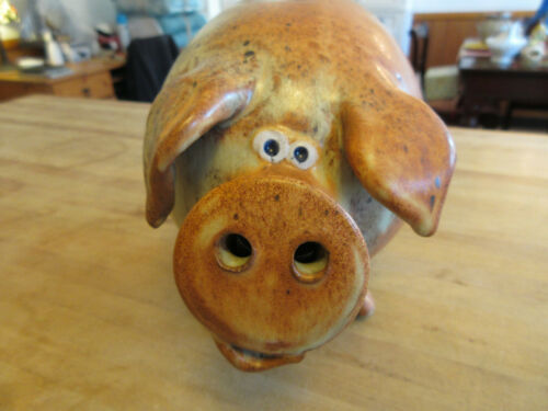 WONDERFUL Vintage Signed Studio Art Pottery Folk Art Big PIGGY BANK