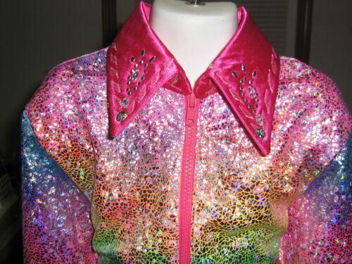 COLORS Shine western pleasure horsemanship zip leadline show shirt  Girls L or M