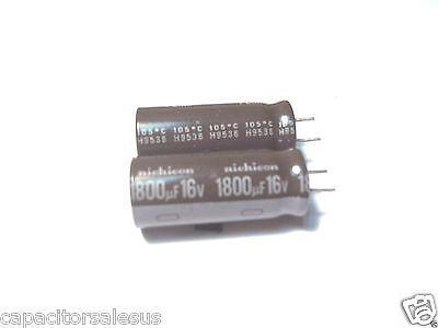 2pcs 1800uf 16v Electrolytic Capacitors 105c Nichicon 12x30 Usa Seller