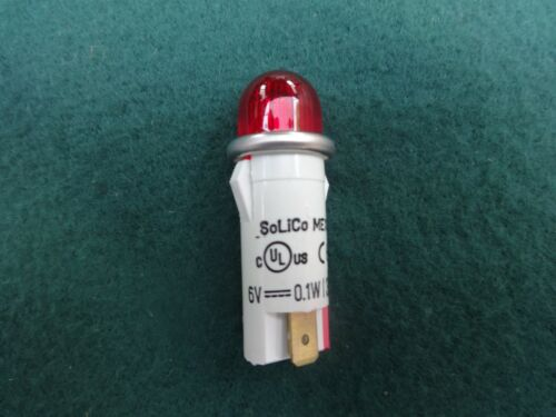 2 Pc SoLiCo #3011-3-11-41510 Indicating Lights, LED, 6V, Large Dome Lines, Red