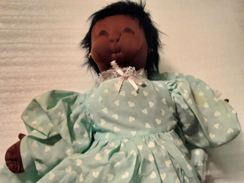 "Black Americana Folk Cloth Girl Doll Vintage Large 20"" Handmade"