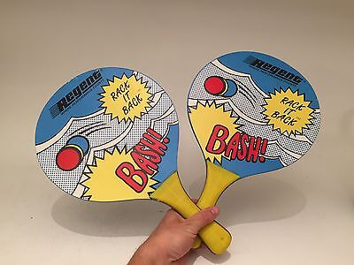 2 Vintage Rack it Back Paddles Wooden Beach Ball Paddles Regent Toy Paddle Game