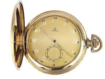 Art Deco um 1930 Omega  Herren Sprungdeckel Taschenuhr in Gold Double