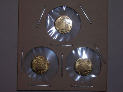 1907 MINI ST GAUDENS GOLD COINS 1/2 GRAM BULLION x3 for one money!