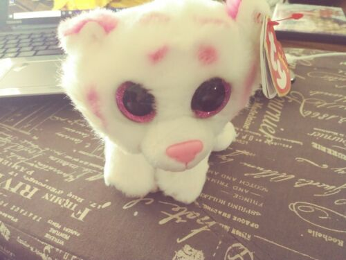 2016 Ty Beanie Boos TABOR the white tiger Stuffed Plush Toy w/ Ear & Tush Tag