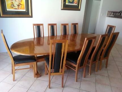 Marri Dining Table And 10 Black Leather Chairs