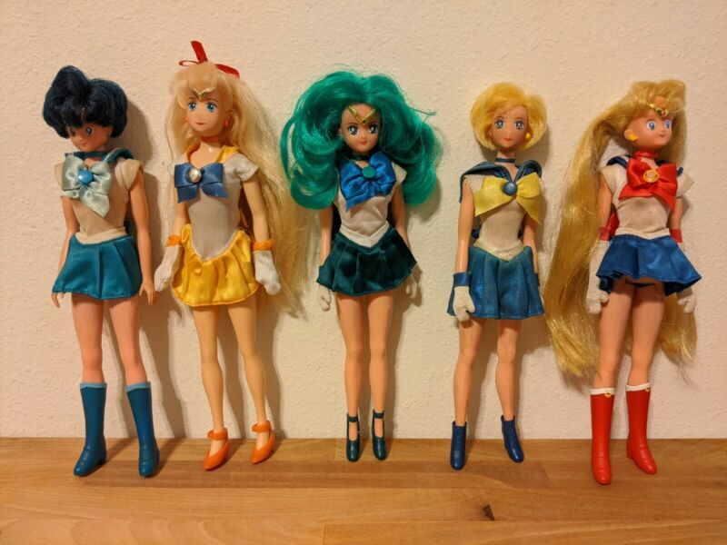 Irwin & Bandai Sailor Moon Dolls Lot (Mercury, Venus, Neptune, Uranus, & Moon)