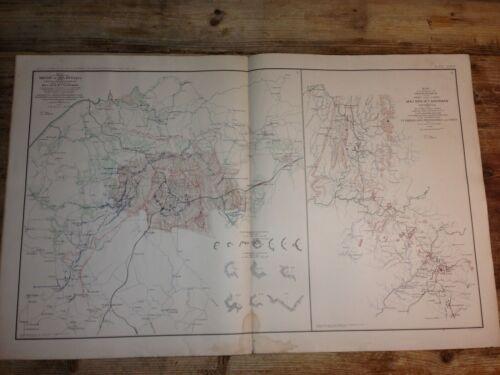 Siege of Atlanta GA - Civl War Map - 1891 - detailed lithographed colored map
