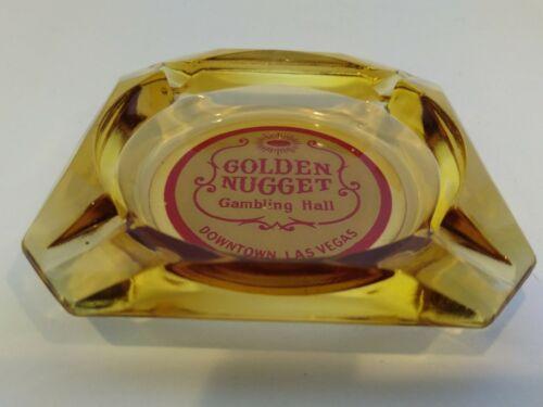 Vintage Golden Nugget Amber Ashtray Gambling Hall Glass Ash Tray