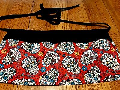 Waitress Apron 3 Pockets Day Of The Dead Sugar Skulls On Red
