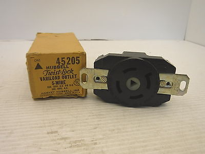 Hubbell 45205 Twist Lock Single Receptacle 30a 250v 30a 600v Nib