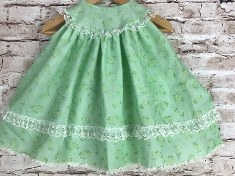 Vintage Green Sheer Flocked Overlay Flowers Lace Baby Dress Baby Bliss L 12-24mo