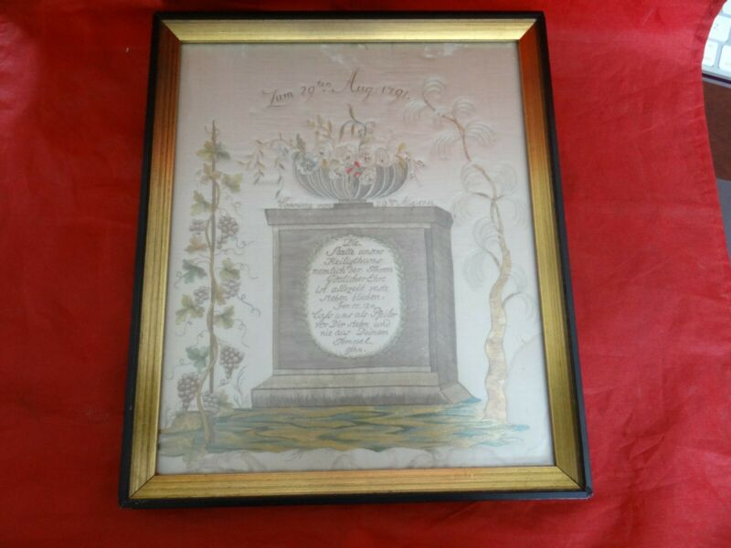 Extremely Rare Antique 18th Century 1791 German Memorial Mourning Sampler