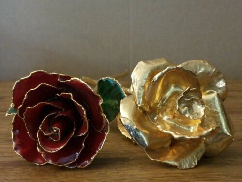 Two 2 24k Dipped Roses with Forever Luster