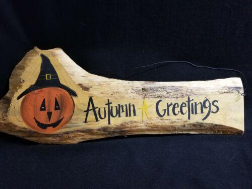 Signed Natural Wood Hanging Autumn Greetings Sign Jack-O-Lantern Halloween Fall